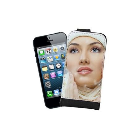Etui Photo iPhone 5/5S à Clapet Haut Bord Noir à personnaliser