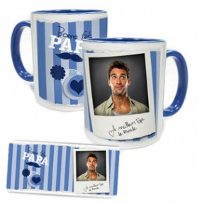 Mug Photo Bleu Bonne Fête Papa