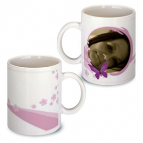 Mug Photo Papillon Rose