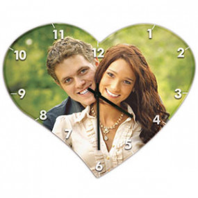 Horloge Photo Coeur en bois