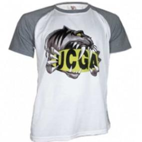 T-shirt Blanc Manche Grise...