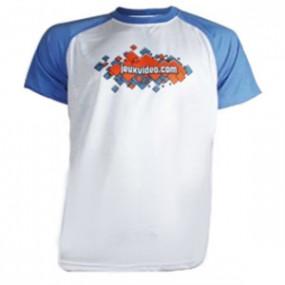 T-shirt Blanc Manche Bleu...