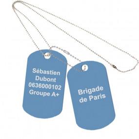 Dog tag unique couleur bleu clair