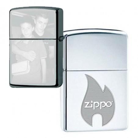 Zippo avec symbole flame à graver au verso