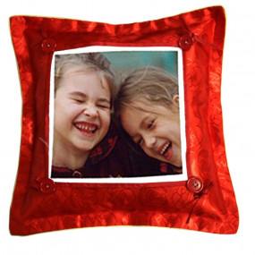Coussin rouge avec photo